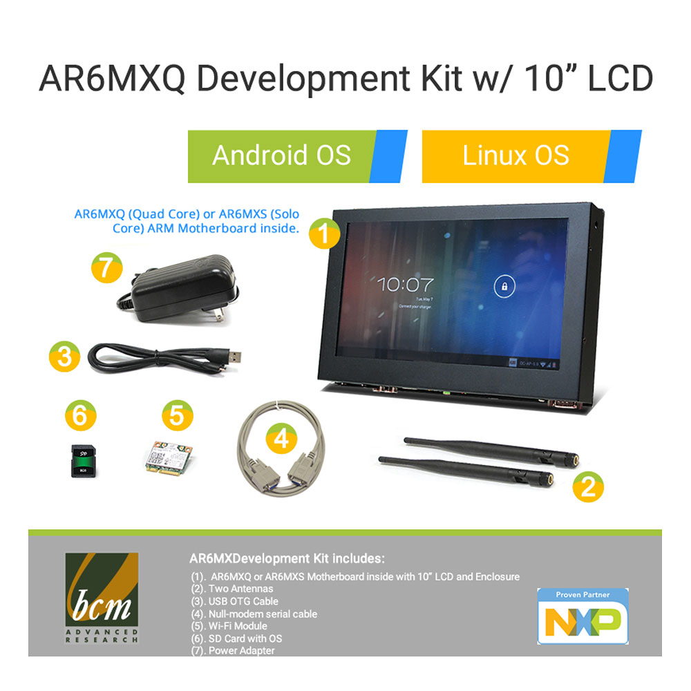 AR6MXQ-LCD AR6MXQ Development Kit with i.MX6 Cortex A9 Quad Core Motherboard and 10 inch Touch LCD Enclosure