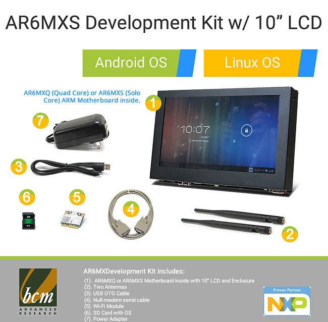 AR6MXS-LCD AR6MXS Development Kit with i.MX6 Cortex A9 Solo Core Motherboard and 10 inch Touch LCD Enclosure